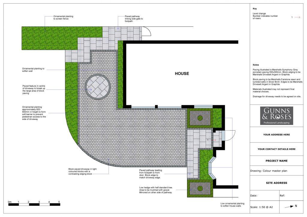 2D garden design for driveway