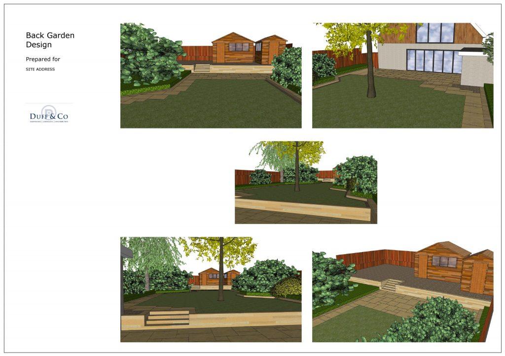 3D garden design for back garden