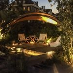 Garden lighting for romantic arbour by Joe Perkins of Beyond The Screen