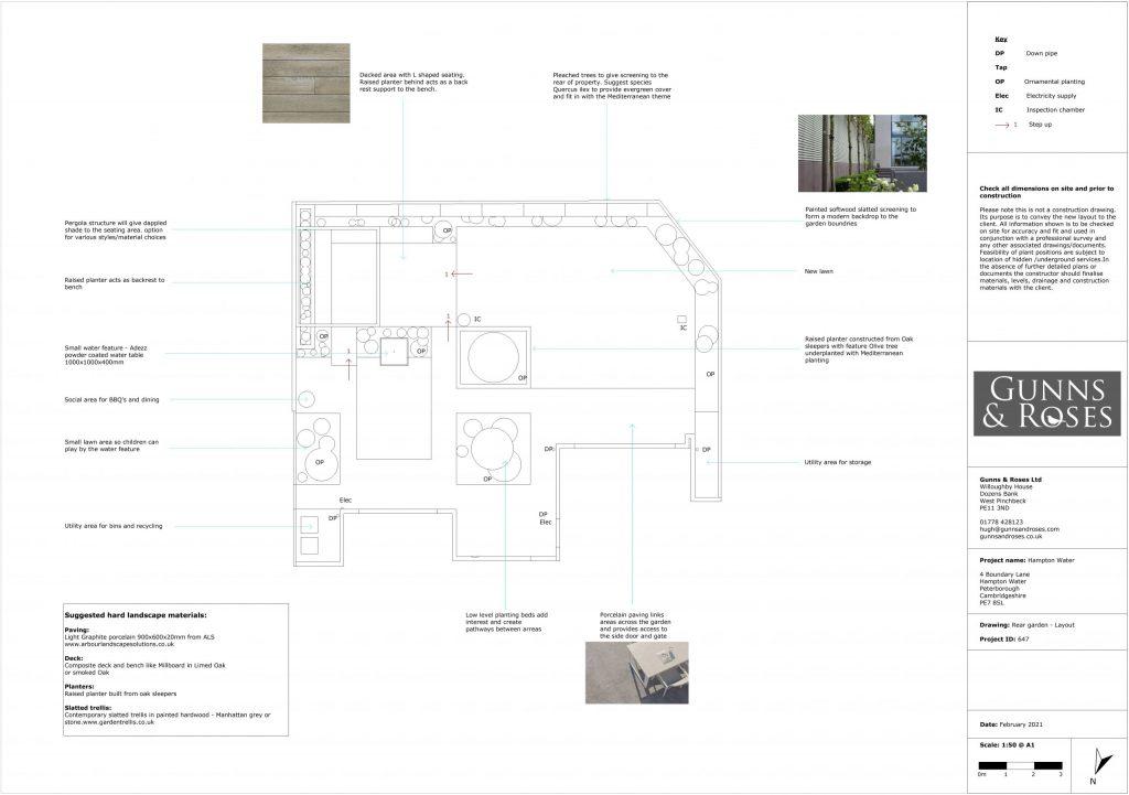 garden design with annotations